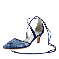 Women's Lace Silk Like Satin Kitten Heel Flats Sandals With Ribbon Tie Satin Flower Flower Lace-up