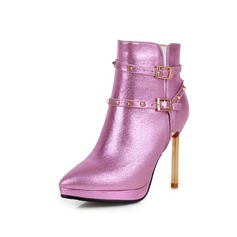 Women's Real Leather Leatherette Stiletto Heel Ankle Boots With Buckle shoes