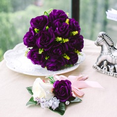 Simple And Elegant Round Satin Flower Sets(Including Boutonniere, Bridal Bouquets)