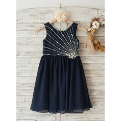 Boho Beach Navy Blue Chiffon Beaded Wedding Flower Girl Knee-length Dress