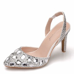 Women's Leatherette Spool Heel Pumps Slingbacks With Crystal