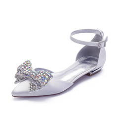 Women's Satin Flat Heel Pumps With Bowknot Rhinestone