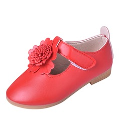 Girl's Round Toe Closed Toe Leatherette Flats Flower Girl Shoes With Velcro Flower