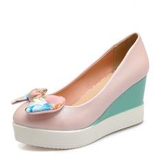 المرأة بو كعب ويدج مضخات منصة تو مغلقة أسافين مع عقد لطيفة (بوونوت) أحذية