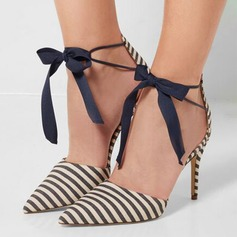 Women's Canvas Stiletto Heel Pumps Closed Toe With Bowknot shoes (085148363)