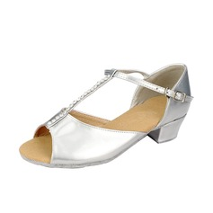 Kids' Leatherette Heels Sandals Latin With T-Strap Dance Shoes