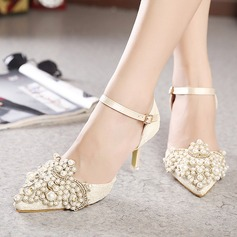 Women's Lace Leatherette Stiletto Heel Closed Toe Pumps With Rhinestone
