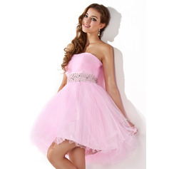 A-Line/Princess Sweetheart Short/Mini Tulle Homecoming Dress With Beading Sequins
