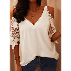 Regular Polyester Cold Shoulder Lace Solid 3XL L S M XL XXL Blouses (1003256778)