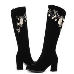 Women's Suede Chunky Heel Pumps Knee High Boots With Satin Flower Zipper shoes