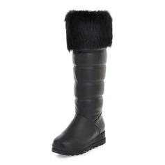 Women's Leatherette Flat Heel Knee High Boots With Fur shoes