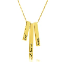 Custom 18k Gold Plated Silver Engraving/Engraved Family Two Bar Necklace With Kids Names - Birthday Gifts Mother's Day Gifts