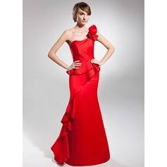 Trumpet/Mermaid One-Shoulder Floor-Length Satin Prom Dress With Cascading Ruffles