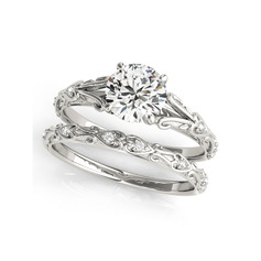 Stackable Round Cut 925 Silver Bridal Sets (304255886)