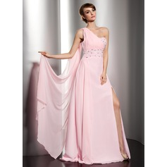 A-Line/Princess One-Shoulder Floor-Length Chiffon Holiday Dress With Ruffle Beading Split Front (020014544)