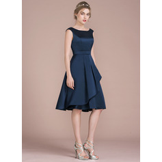 A-Line/Princess Scoop Neck Knee-Length Satin Homecoming Dress With Cascading Ruffles (022116409)