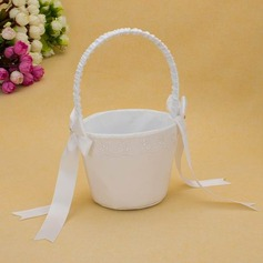 Classic Flower Basket in Satin With Ribbons