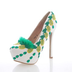 Women's Real Leather Stiletto Heel Closed Toe Platform Pumps With Rhinestone Stitching Lace Crystal