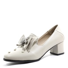 Women's Leatherette Chunky Heel With Bowknot Rivet shoes