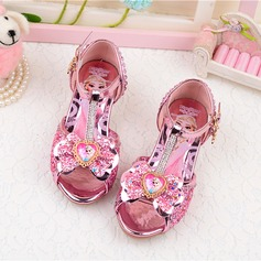 Girl's Peep Toe Leatherette Sparkling Glitter Low Heel Sandals Flower Girl Shoes With Bowknot (207207389)