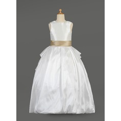 Ball Gown Floor-length Flower Girl Dress - Taffeta/Lace Sleeveless Scoop Neck With Sash/Beading/Bow(s)