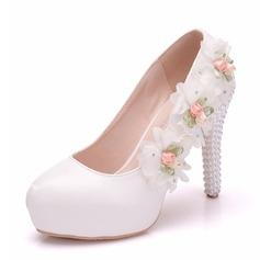 Women's Leatherette Spool Heel Closed Toe Pumps With Flower Crystal Heel