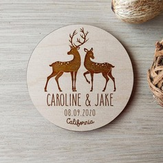 Personalized Lovely Deer Wooden Save-the-date Magnets