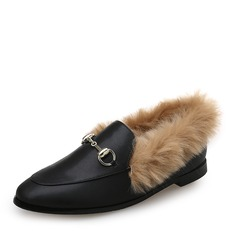 Women's Leatherette Flat Heel Flats Closed Toe With Chain Fur shoes (086113604)