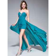 Sheath/Column Sweetheart Asymmetrical Chiffon Prom Dress With Ruffle Beading Sequins