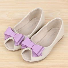 Girl's Leatherette Flat Heel Round Toe Peep Toe Flats With Bowknot