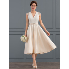 V-neck Tea-Length Satin Wedding Dress (265213138)