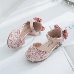Girl's Round Toe Closed Toe Leatherette Flat Heel Flats Flower Girl Shoes With Bowknot Velcro Crystal (207207320)