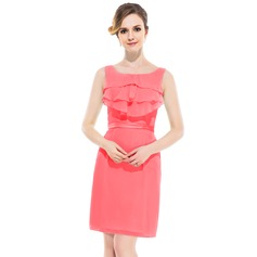 Sheath/Column Scoop Neck Knee-Length Chiffon Bridesmaid Dress With Ruffle Cascading Ruffles