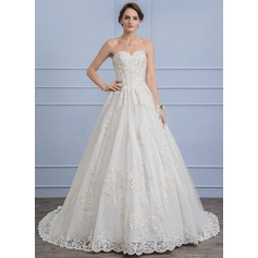 Ball-Gown Sweetheart Chapel Train Lace Wedding Dress With Beading Sequins