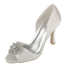 Women's Satin Spool Heel Peep Toe Sandals With Flower Crystal
