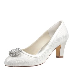 Women's Lace Silk Like Satin Chunky Heel Closed Toe Pumps With Crystal