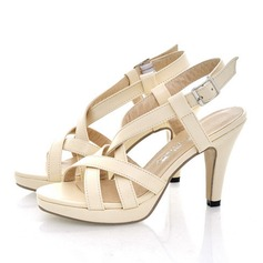 Women's Leatherette Stiletto Heel Sandals Pumps Peep Toe Slingbacks With Buckle Hollow-out shoes (087111973)