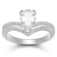 Sterling Silver Cubic Zirconia Halo V Shaped Pear Cut Promise Rings Bridal Sets -