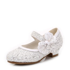 Girl's Closed Toe Sparkling Glitter Flat Heel Flower Girl Shoes With Bowknot Sparkling Glitter