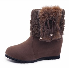 Women's Suede Wedge Heel Wedges Boots Mid-Calf Boots With Tassel Fur shoes