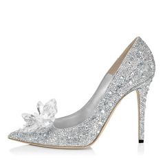 Vrouwen Kunstleer Stiletto Heel Closed Toe Pumps met Strass Kristal (047064120)