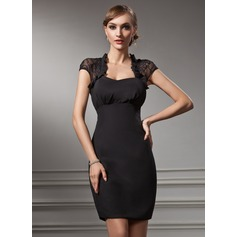 Forme Fourreau Bustier en coeur Court/Mini Mousseline Dentelle Robe de cocktail (016021212)