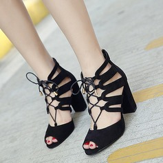 Women's Suede Chunky Heel Sandals Pumps Peep Toe With Braided Strap shoes