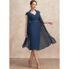 Sheath/Column V-neck Knee-Length Chiffon Cocktail Dress With Ruffle Beading Sequins