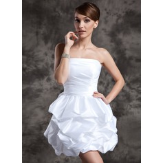Strapless Short/Mini Taffeta Wedding Dress With Ruffle (265193181)