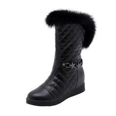 Kvinner Lær Lav Hæl Lukket Tå Støvler Mid Leggen Støvler Snø Støvler med Kjede Pels sko