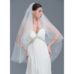 Two-tier Cut Edge Fingertip Bridal Veils With Beading (006109847)