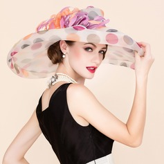 Ladies' Colorful Organza With Feather Floppy Hat (196091602)