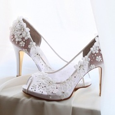 Kvinnor Mesh Stilettklack Peep Toe Beach Wedding Shoes med Strass Applikationer