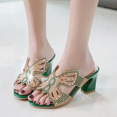 Women's Leatherette Chunky Heel Sandals With Sparkling Glitter Hollow-out shoes
